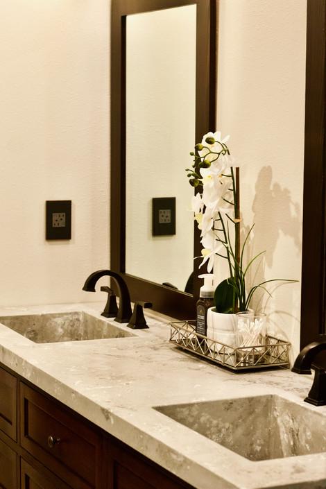 Master Bathroom With Double Integral Sink Concrete Vanity Top
