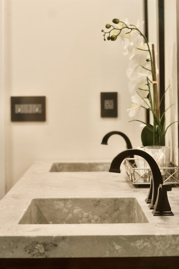 Master Bathroom With Double Integral Sink Concrete Vanity Top