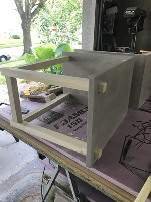 Concrete Nightstand With Wooden Base Test Fit