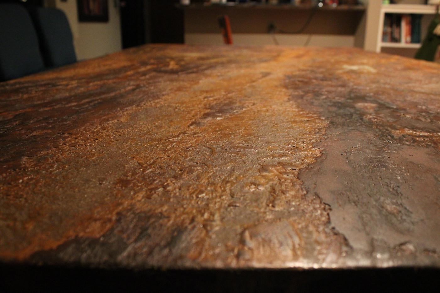 Terra Firma Concrete Dining Table - Medium Texture - Autumn In Ascalon Acid Stain
