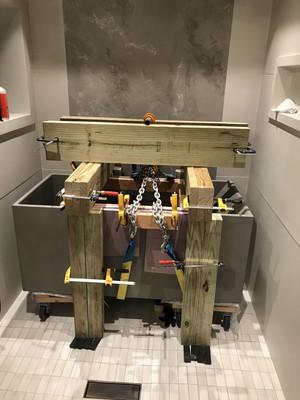 Impromptu Gantry For Concrete Bathtub
