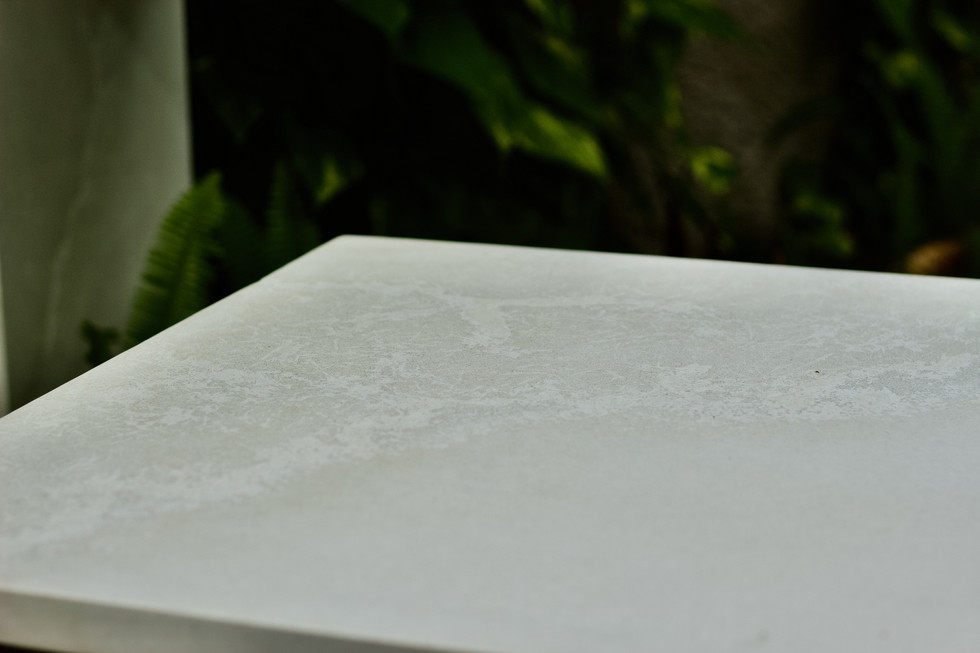 White Concrete Coffee Table With Waterfall Legs - Detail Shot