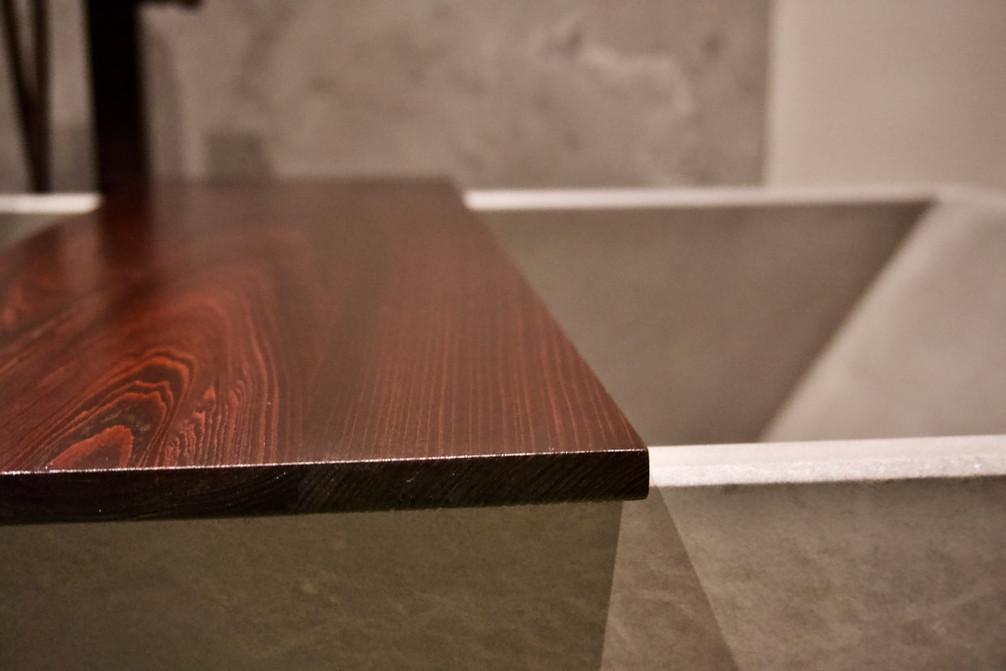 Concrete Bathtub & Cypress Tub Shelf/Tray