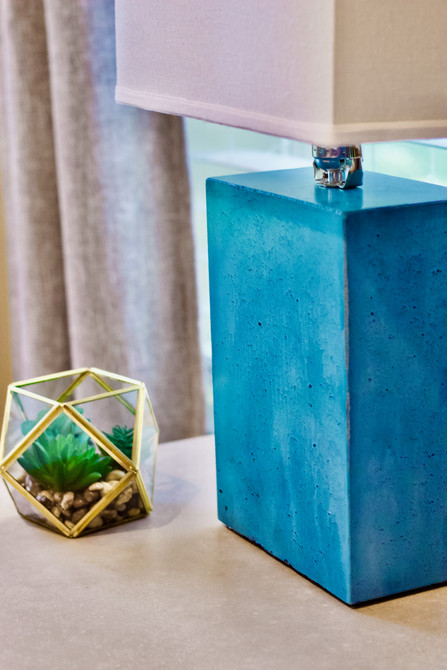 Concrete Table Lamp on Concrete Nightstand
