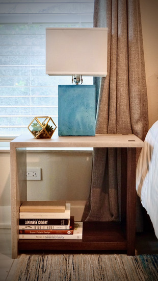 Concrete Nightstand With Poplar Base & Concrete Lamp