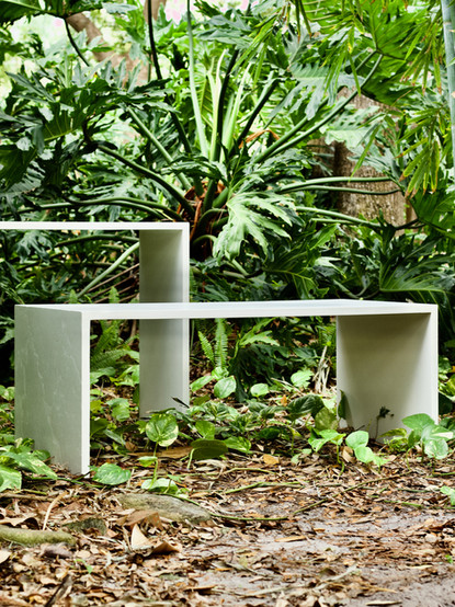 White Concrete Sofa Table & Coffee Table With Waterfall Legs