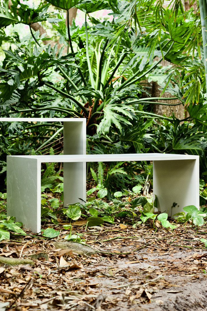 White Concrete Coffee Table & Concrete Sofa Table With Waterfall Legs