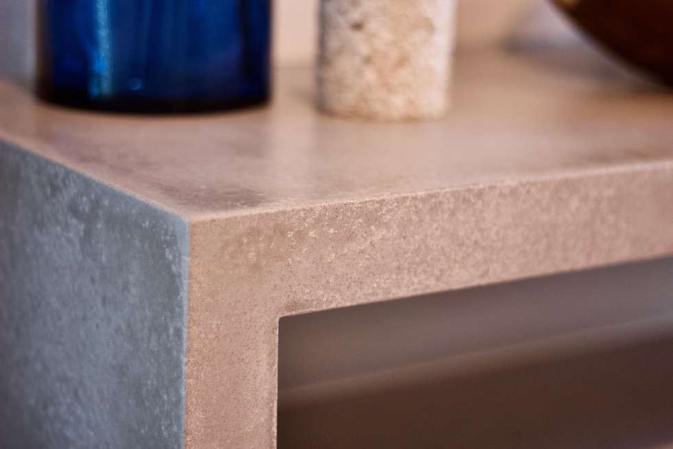 Concrete Wall Table With Poplar Base - Detail