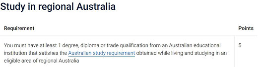 study in regional australi for th subclass 190 visa