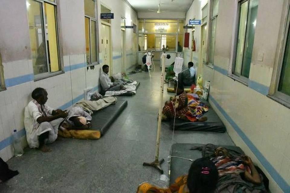 Patients sleeping on corridors in Gandhi Hospital.