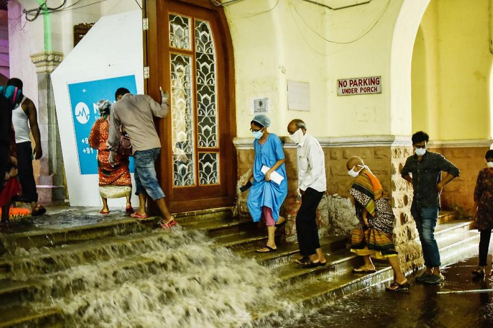 rain and sewage water flow in Osmania hospital