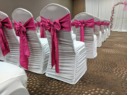 Hot Pink Sash & White Chair Cover