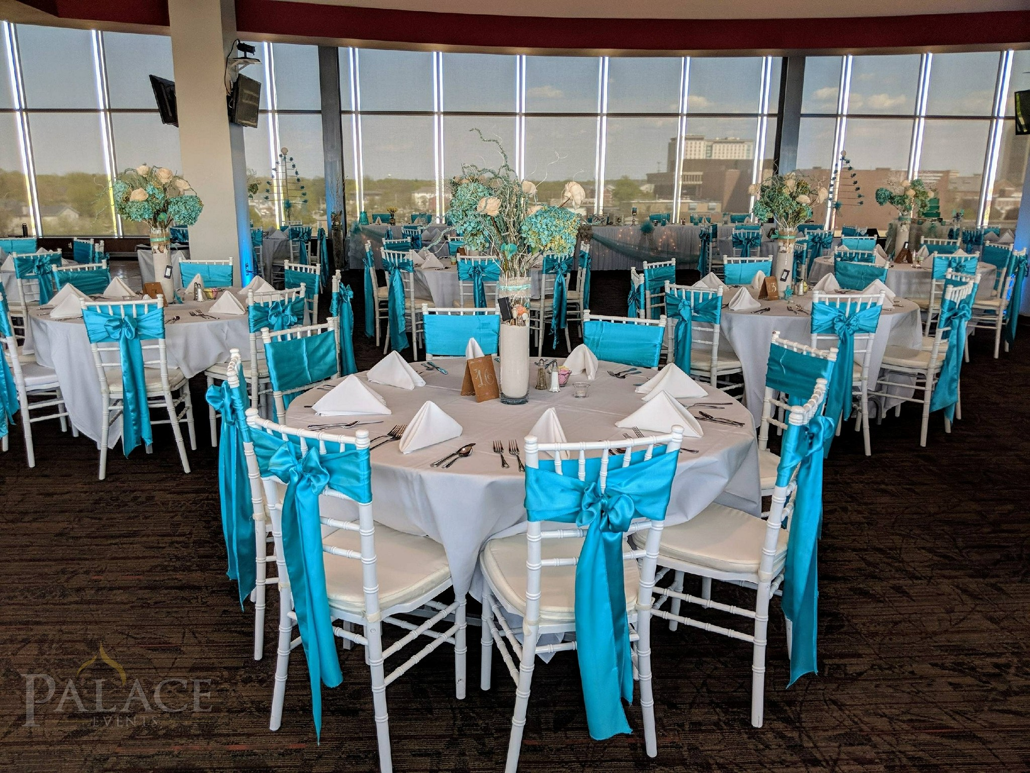 Turquoise Sash & White Tablecloth