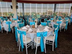 Turquoise Sash & White Tablecloth