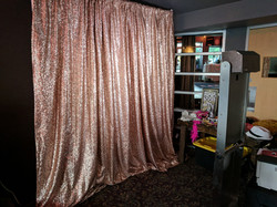 Photo Booth Set Up with Blush Sequin