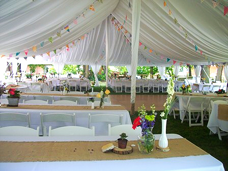 Tent, Tent Liner, Center Pole Drapes, Side Pole Drapes, Table Runner, Linen