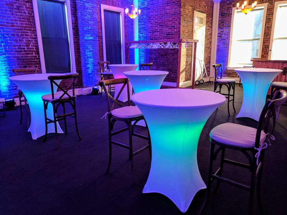 Cocktail Table with White Spandex