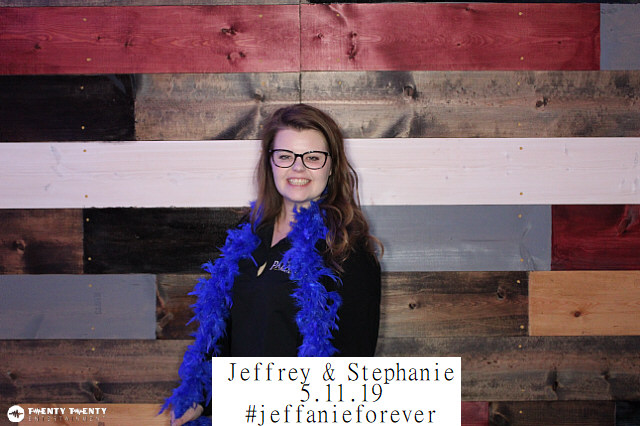 Photo Booth with Wood Backdrop