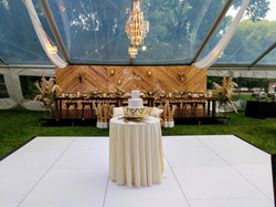 Cocktail Table with Ivory Tablecloth