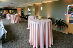 Cocktail Table with Blush Tablecloth