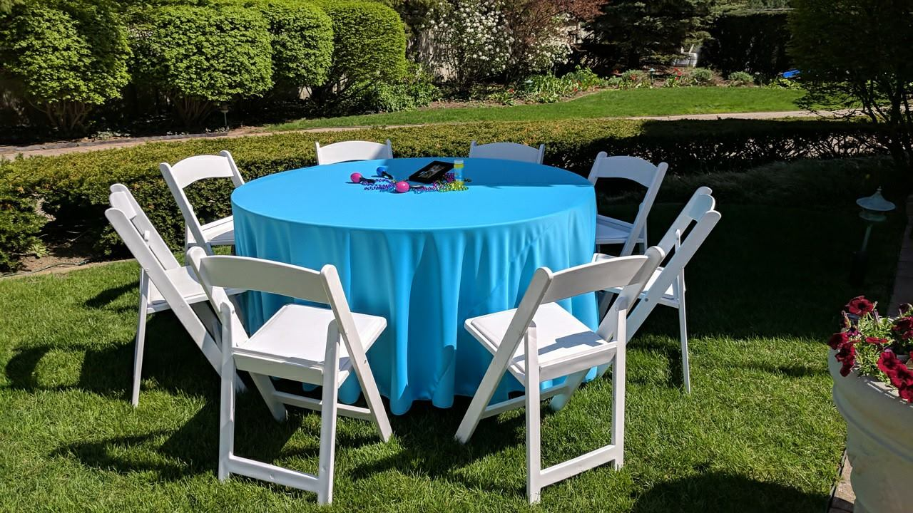 Aqua Polyester Tablecloth