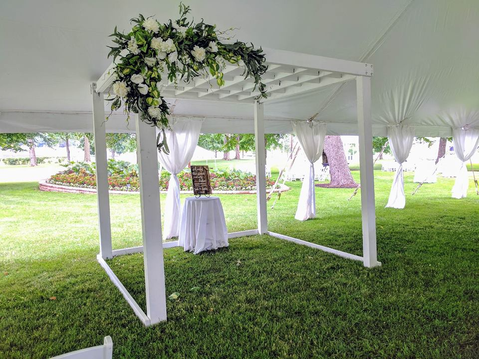 Large White Wood Arbor