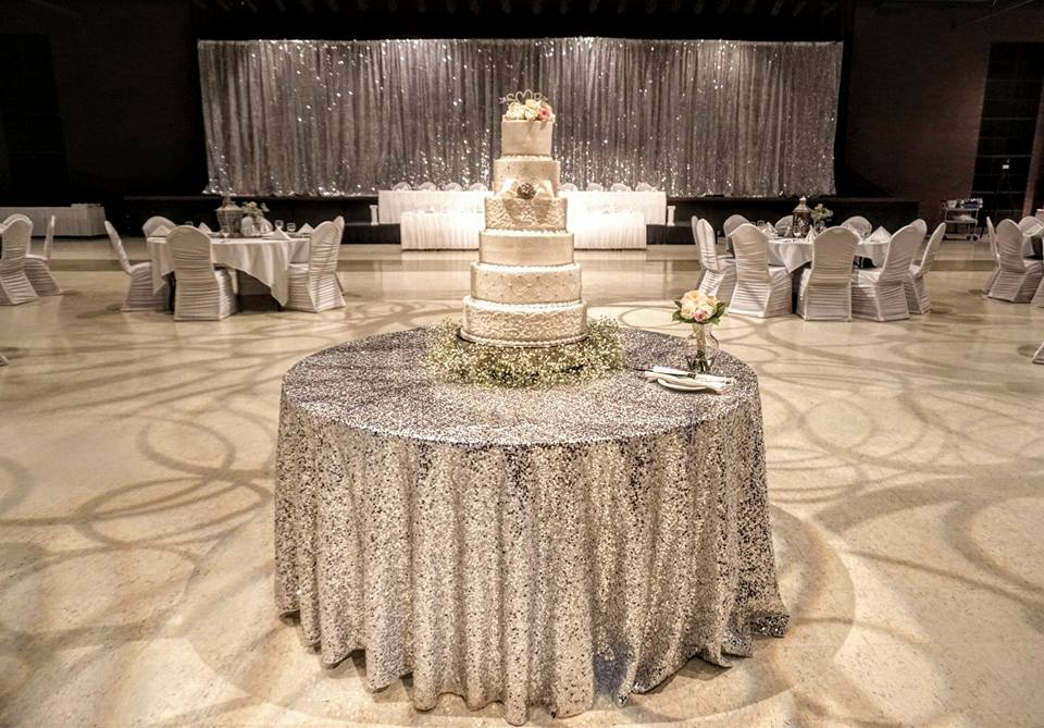 Silver Sequin Tablecloth & Drape