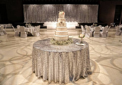 Silver Sequin Tablecloth & Drape