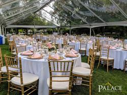 White Tablecloth & Blush Napkins