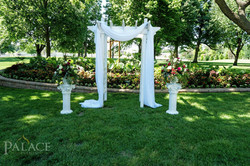 White Wood Arbor with Draping