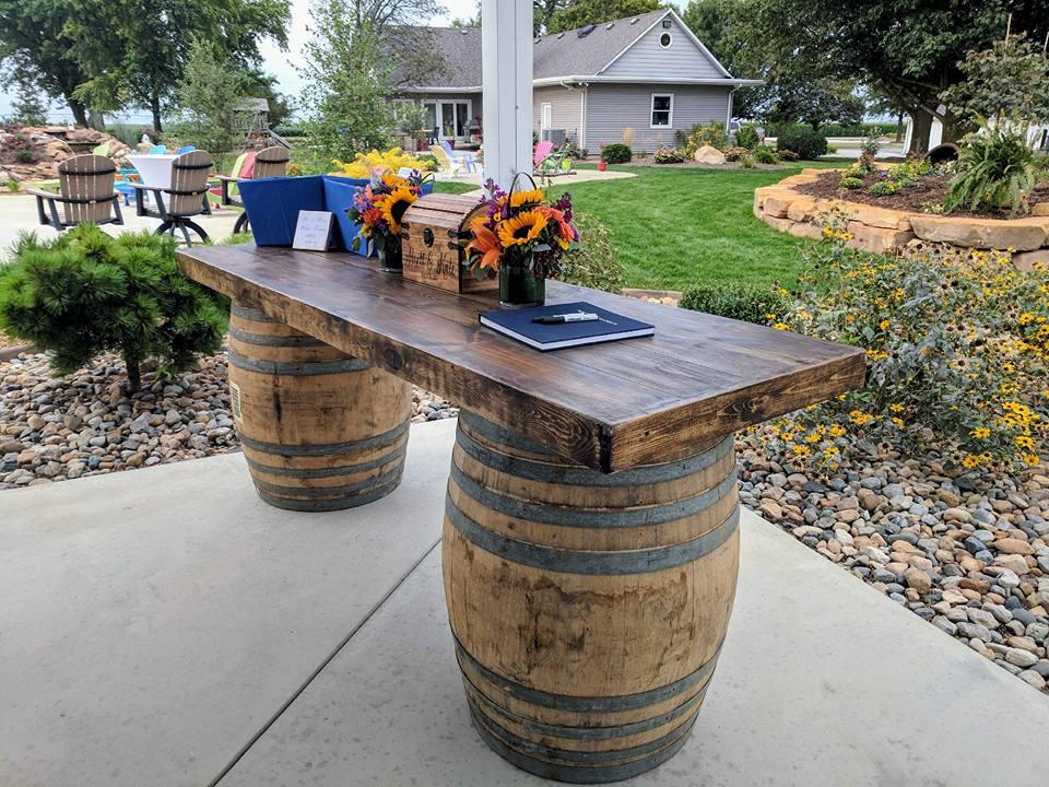 Whiskey Barrel Table