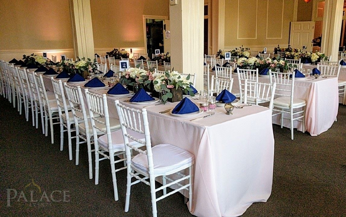Blush Tablecloth & Navy Napkins