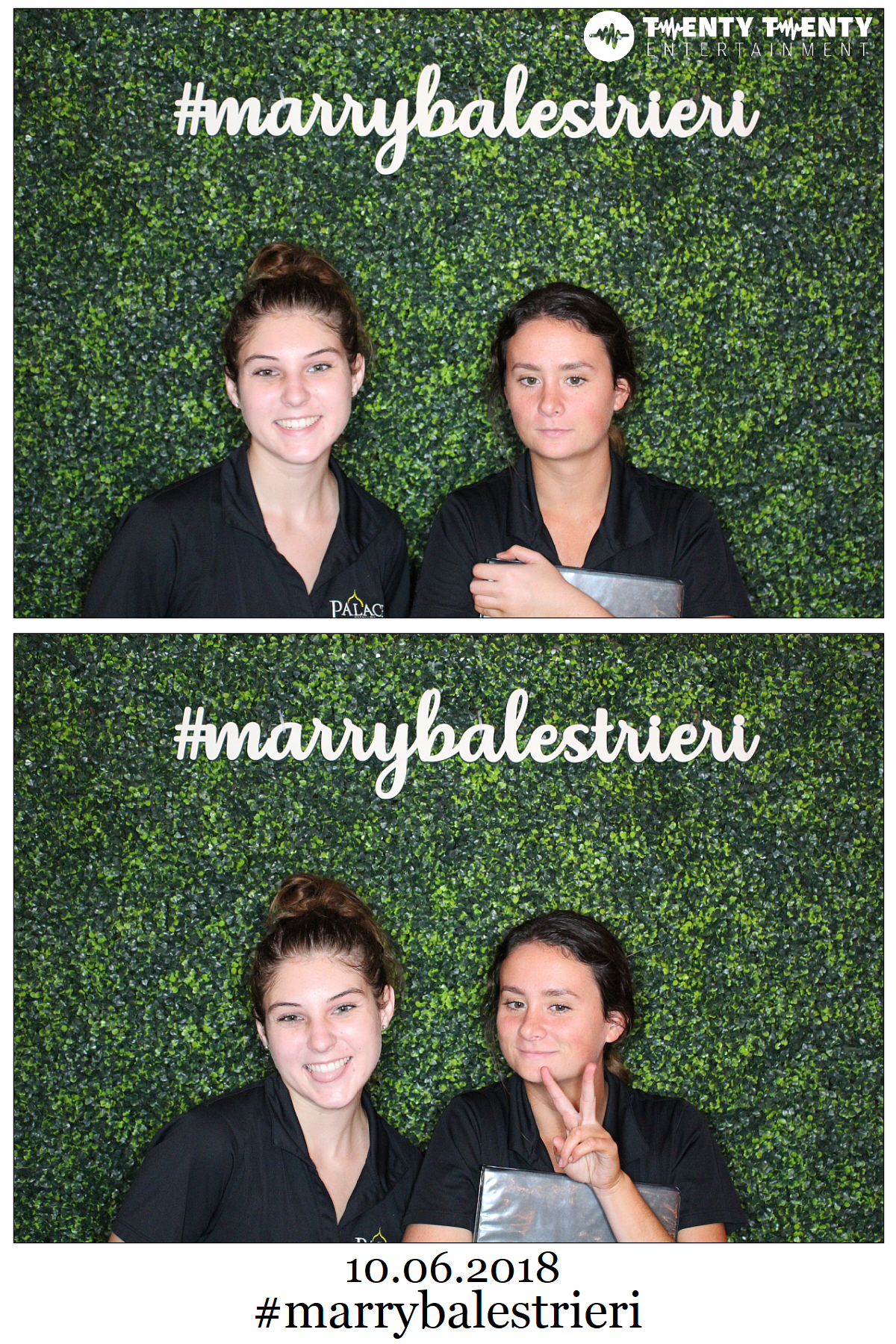Photo Booth with Boxwood Backdrop