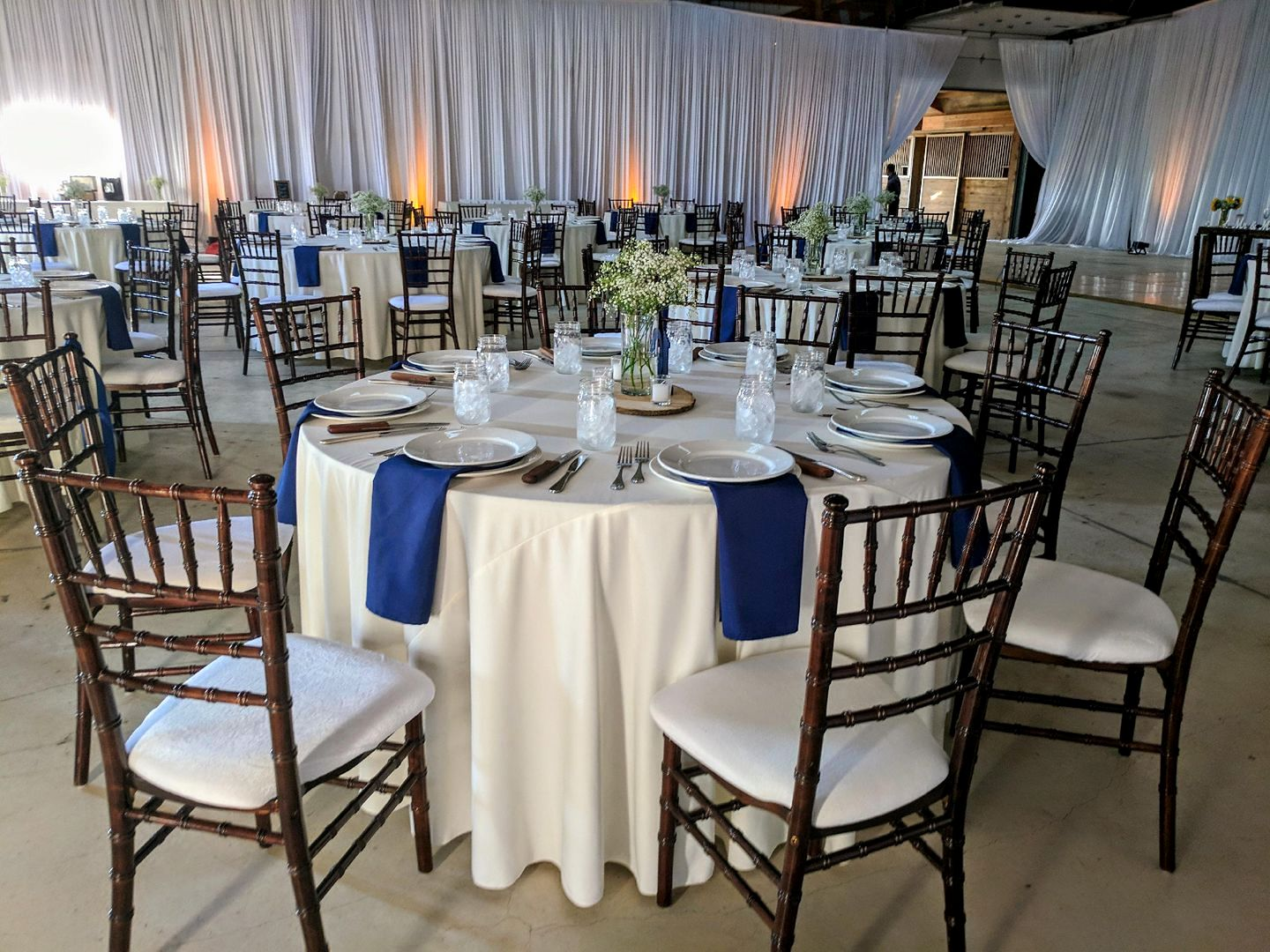 Ivory Tablecloth & Navy Napkins
