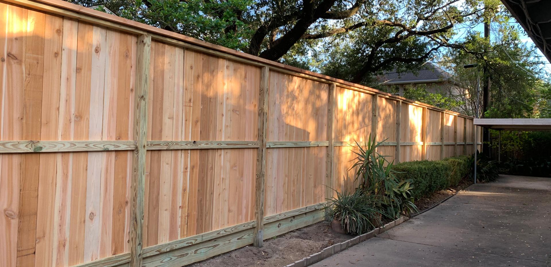 8 ft Cedar Fence with cedar top cap