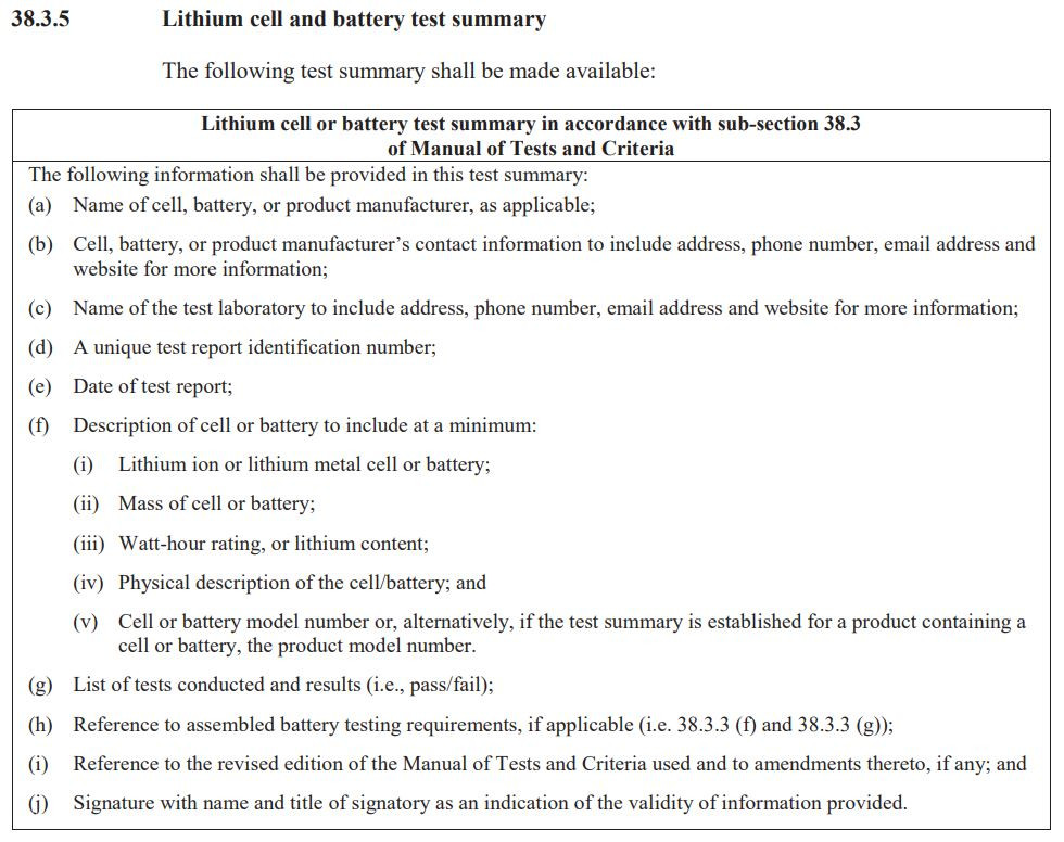UN38.3 Lithium Battery Test Summary Requirements