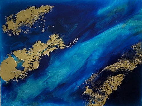 """Blue and Gold 24"""" x 18"""""""