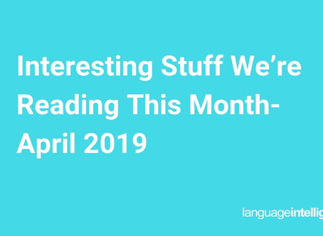 Interesting Stuff We're Reading This Month- April 2019
