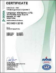 Language Intelligence - ISO 9001 2015 Ce