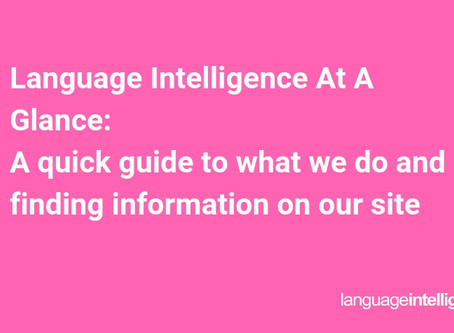 Language Intelligence At A Glance [Guide to What We Do]