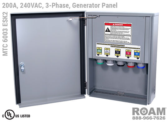 MTC 6003 ESK2 - 200A/240VAC - 3-Phase - Generator Interface Panel - Connection Panel - Tap Box - Docking Station - Front View - Door Open - Three-Phase - Generator Interface Box - 120VAC, 208VAC, 230VAC, & 240VAC - 240v (120v, 208v, 230v, & 240v) - 200 Amp - Door Open - Showing E1016 (J-Series/16-Series) Male Cam-Lok Connectors - Cam-Lock Generator Connector Panel - MTC6003ESK2 - UL/cUL Listed