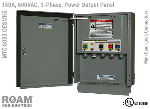 MTC 6003 OESMK2 - 150A/240VAC - 3-Phase - Power Output Panel - Connection Panel - Tap Box - Docking Station - Mini Cam-Lock Front View - Open - Three-Phase - Power Output Interface Box - 120VAC, 208VAC, 230VAC, & 240VAC - 240v (120v, 208v, 230v, & 240v) - Door Open - Showing 15-Series Female Mini Cam-Lock Connectors - MTC6003OESMK2 - UL/cUL Listed