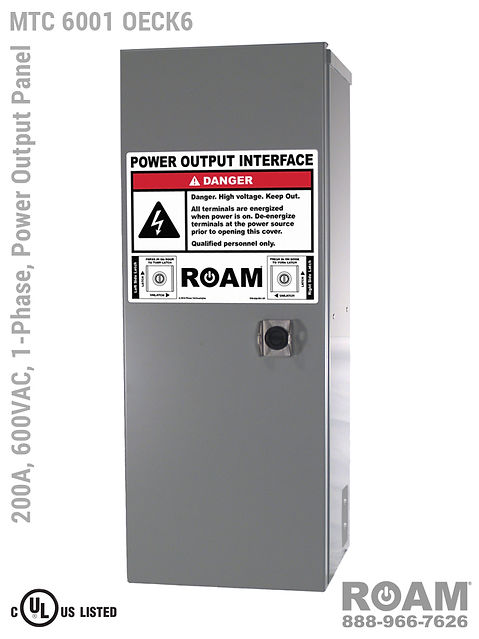 MTC 6001 OECK6 - 200A/600VAC - 1-Phase - Power Output Panel - Connection Panel - Tap Box - Docking Station - Front View - Door Closed - Single-Phase Power Output Interface Box - 575VAC, 577VAC, & 600VAC - 600v (575v, 577v, & 600v) - 200 Amp - Door Open - Showing E1016 (J-Series/16-Series) Female Cam-Lok Connectors - Cam-Lock Power Output Panel - MTC6001OECK6 - UL/cUL Listed