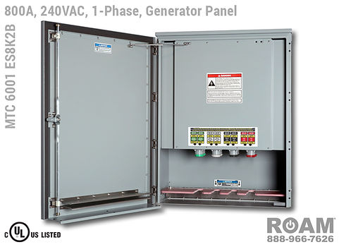 Roam MTC 6001 ES8K2B - Generator Interface Panel - Single-Phase - Door Open - Supports Up to to 800A - 800 Amps - Supports Up to 600MCM Cable - Bus-Barred - Supports 120VAC, 208VAC, 230VAC, & 240VAC - 240v (120v, 208v, 230v, & 240v) - E1016 (J-Series/16-Series) Male Cam-Lok Connectors - MTC6001ES8K2B - Cam-Lock - Gen Box - Tap Box - Docking Station - Connection Panel - Connector Panel - 1-Phase - UL/cUL Listed