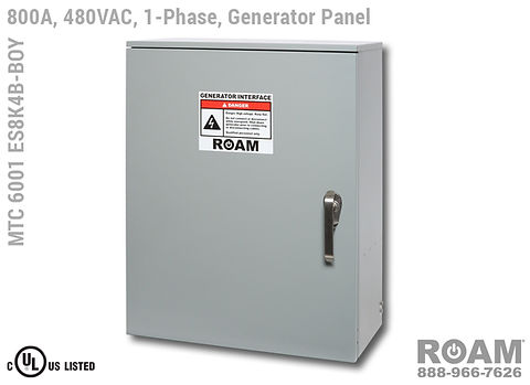 Roam MTC 6001 ES8K4B-BOY - Generator Interface Panel - Single-Phase - Door Closed - Supports Up to to 800A - 800 Amps - Supports Up to 600MCM Cable - Bus-Barred - Supports 277VAC, 330VAC, 440VAC, & 480VAC - 480v (277v, 330v, 440v, & 480v) - E1016 (J-Series/16-Series) Male Cam-Lok Connectors - MTC6001ES8K4B-BOY - Cam-Lock - Gen Box - Tap Box - Docking Station -  Connection Panel - Connector Panel - 1-Phase - UL/cUL Listed
