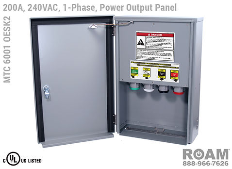 MTC 6001 OESK2 - 200A/240VAC - 1-Phase - Power Output Panel - Connection Panel - Tap Box - Docking Station - Front View - Door Open - Single-Phase - Power Output Interface Box - 120VAC, 208VAC, 230VAC, & 240VAC - 240v (120v, 208v, 230v, & 240v) - 200 Amp - Door Open - Showing E1016 (J-Series/16-Series) Female Cam-Lok Connectors - Cam-Lock Power Output Panel - MTC6001OESK2 - UL/cUL Listed