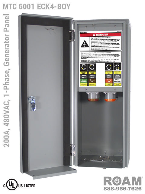 MTC 6001 ECK4-BOY - 200A/480VAC - 1-Phase - Generator Interface Panel - Connection Panel - Tap Box - Docking Station - Compact - Front View - Door Open - Single-Phase Generator Interface Box - 277VAC, 330VAC, 440VAC, & 480VAC - 480v (277v, 330v, 440v, & 480v) - 200 Amp - Door Open - Showing E1016 (J-Series/16-Series) Male Cam-Lok Connectors - Cam-Lock - Generator Connector Panel - MTC6001ECK4-BOY - UL/cUL Listed