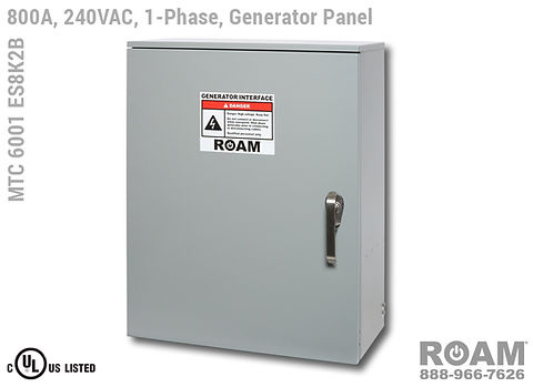 Roam MTC 6001 ES8K2B - Generator Interface Panel - Single-Phase - Door Closed - Supports Up to to 800A - 800 Amps - Supports Up to 600MCM Cable - Bus-Barred - Supports 120VAC, 208VAC, 230VAC, & 240VAC - 240v (120v, 208v, 230v, & 240v) - E1016 (J-Series/16-Series) Male Cam-Lok Connectors - MTC6001ES8K2B - Cam-Lock - Gen Box - Tap Box - Docking Station - Connection Panel - Connector Panel - 1-Phase - UL/cUL Listed