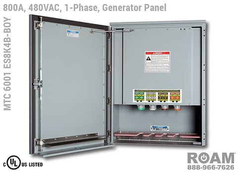 Roam MTC 6001 ES8K4B-BOY - Generator Interface Panel - Single-Phase - Door Open - Supports Up to to 800A - 800 Amps - Supports Up to 600MCM Cable - Bus-Barred - Supports 277VAC, 330VAC, 440VAC, & 480VAC - 480v (277v, 330v, 440v, & 480v) - E1016 (J-Series/16-Series) Male Cam-Lok Connectors - MTC6001ES8K4B-BOY - Cam-Lock - Gen Box - Tap Box - Docking Station -  Connection Panel - Connector Panel - 1-Phase - UL/cUL Listed
