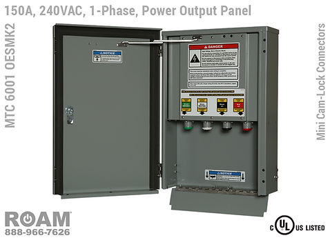 MTC 6001 OESMK2 - 150A/240VAC - 1-Phase - Power Output Panel - Connection Panel - Tap Box - Docking Station - Mini Cam-Lock Front View - Open - Single-Phase - Power Output Interface Box - 120VAC, 208VAC, 230VAC, & 240VAC - 240v (120v, 208v, 230v, & 240v) - Door Open - Showing 15-Series Female Mini Cam-Lock Connectors - MTC6001OESMK2 - UL/cUL Listed